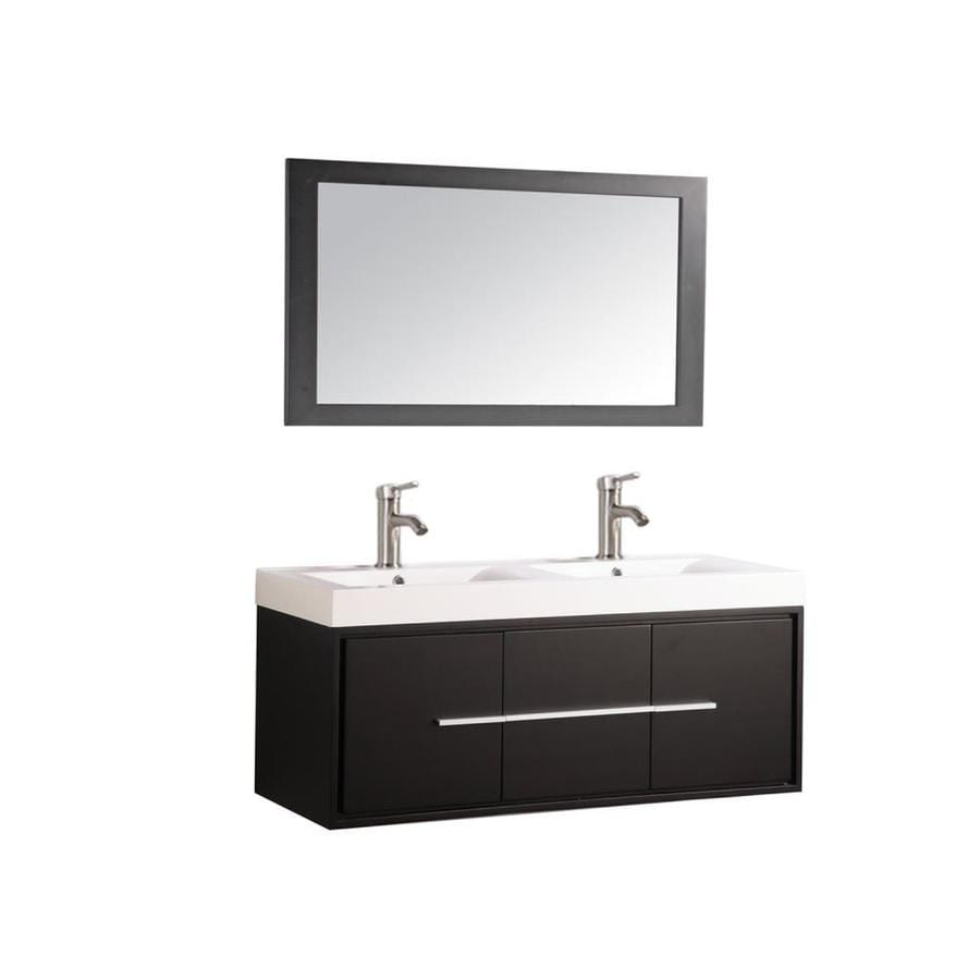 MTD Vanities Cypress Espresso 48-in Integral Double Sink Oak Bathroom Vanity with Acrylic Top (Faucet and Mirror Included)