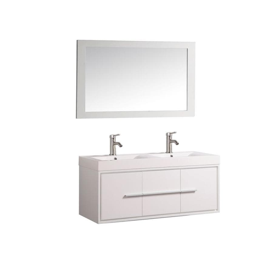 Shop mtd vanities white integrated double sink bathroom for Bath vanities with tops