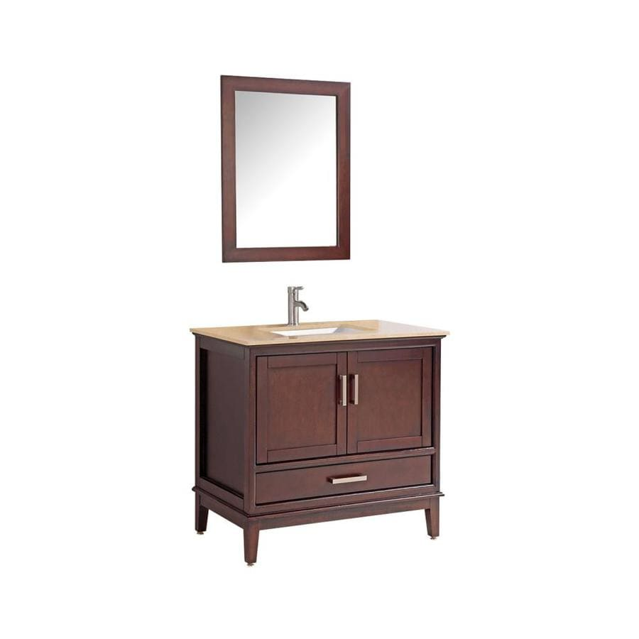 MTD Vanities Sierra Tobacco 36-in Undermount Single Sink Oak Bathroom Vanity with Natural Marble Top (Faucet and Mirror Included)