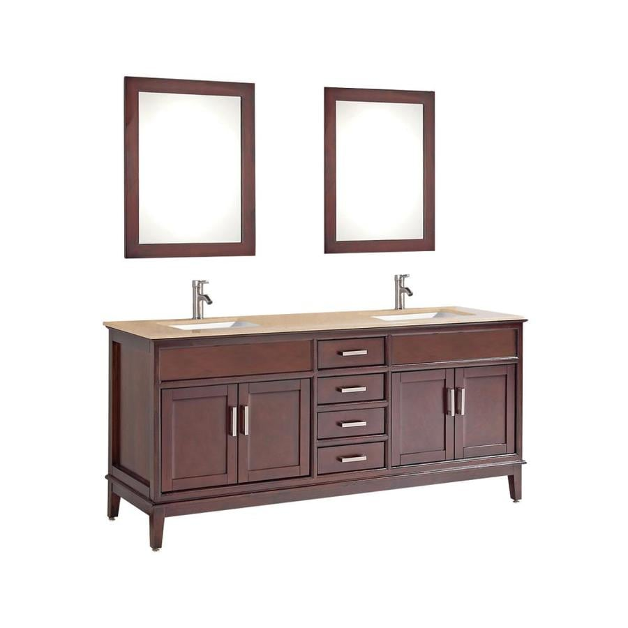MTD Vanities Sierra Tobacco 60-in Undermount Double Sink Oak Bathroom Vanity with Natural Marble Top (Faucet and Mirror Included)