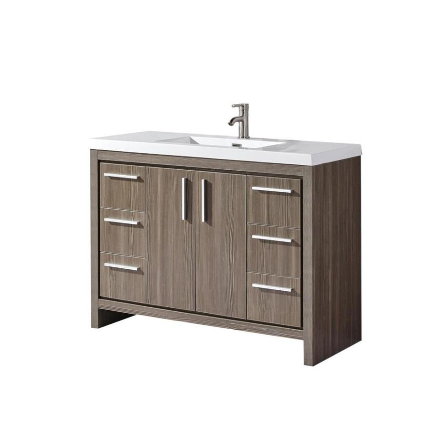 Mtd Vanities 59 In Grey Pine Single Sink Bathroom Vanity With White