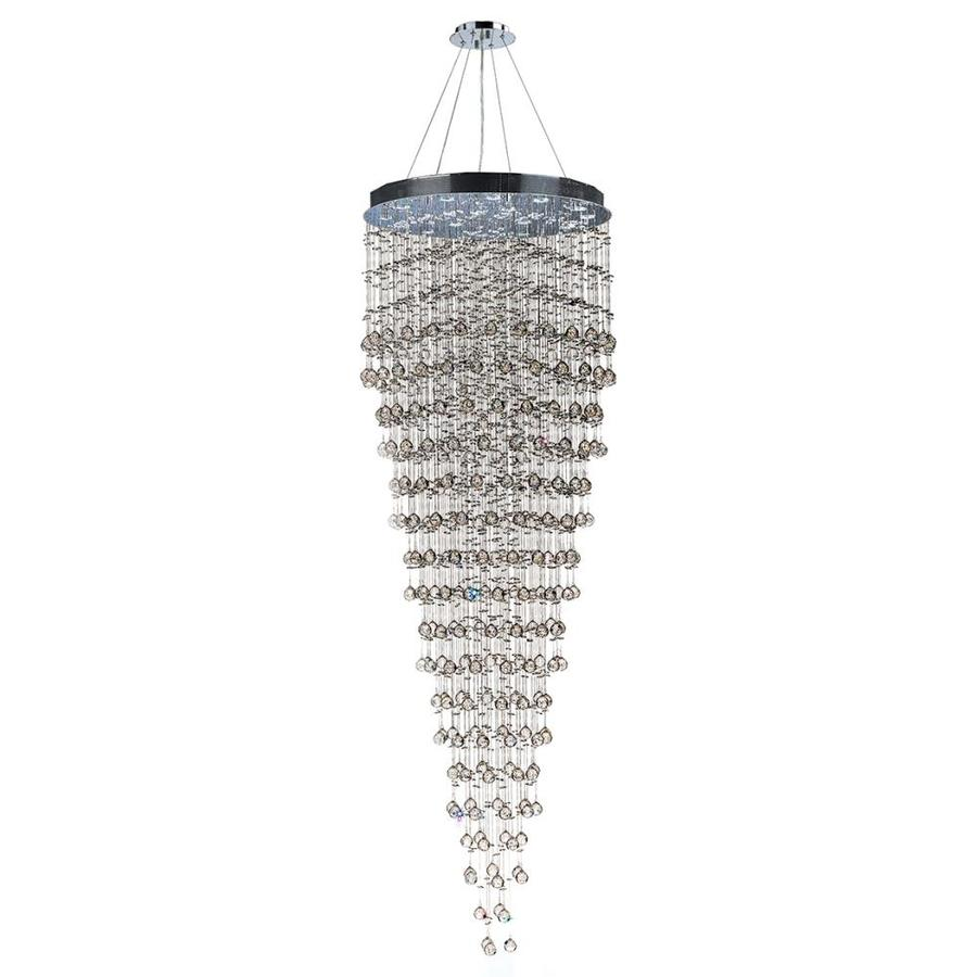 Worldwide Lighting Icicle 32-in 16-Light Polished Chrome Crystal Candle Chandelier