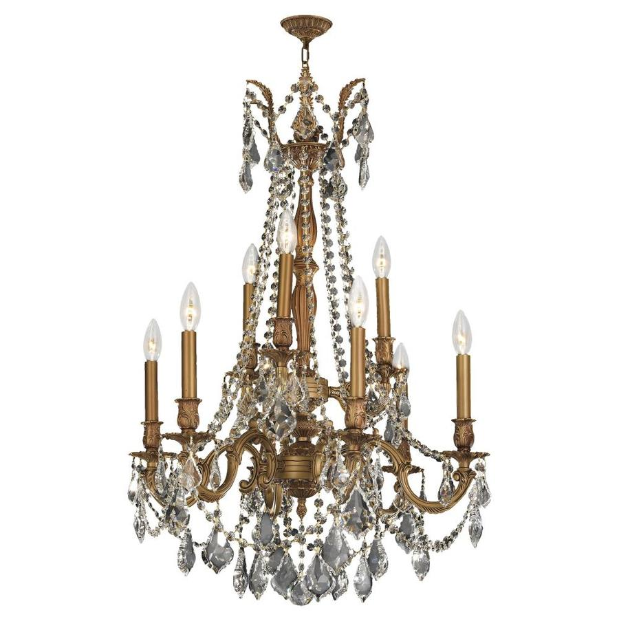 Worldwide Lighting Windsor 23-in 9-Light French Gold Crystal Candle Chandelier