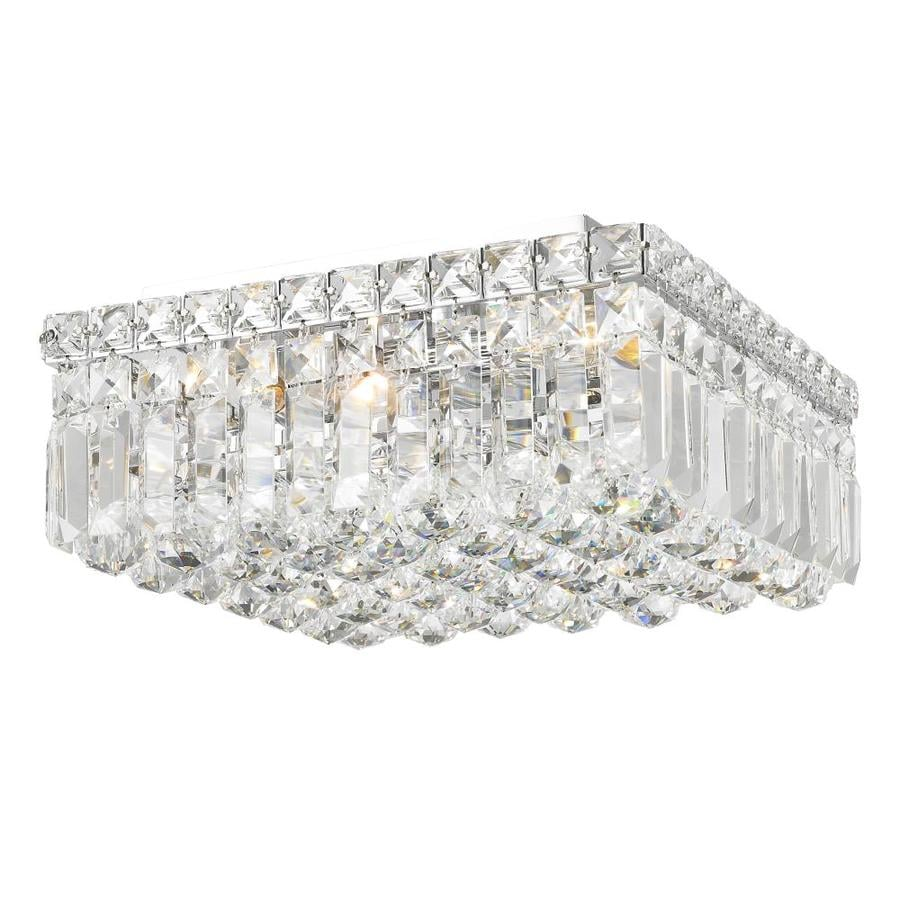 Worldwide Lighting Cascade 12-in W Chrome Crystal Flush Mount Light