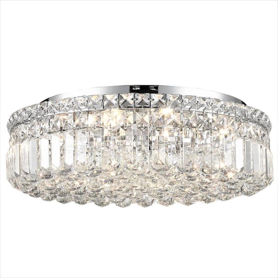 Worldwide Lighting Cascade 20 In W Chrome Crystal Flush Mount Light