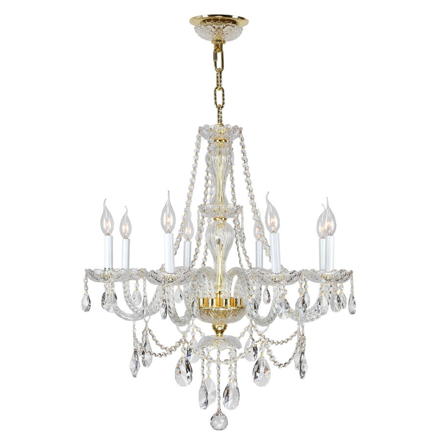 Worldwide Lighting 28.0-in 8-Light Polished Gold Crystal Crystal Candle Chandelier