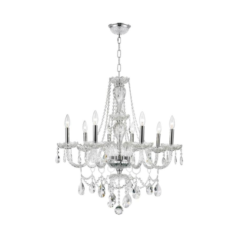 Worldwide Lighting Provence 28-in 8-Light Polished Chrome Crystal Crystal Candle Chandelier