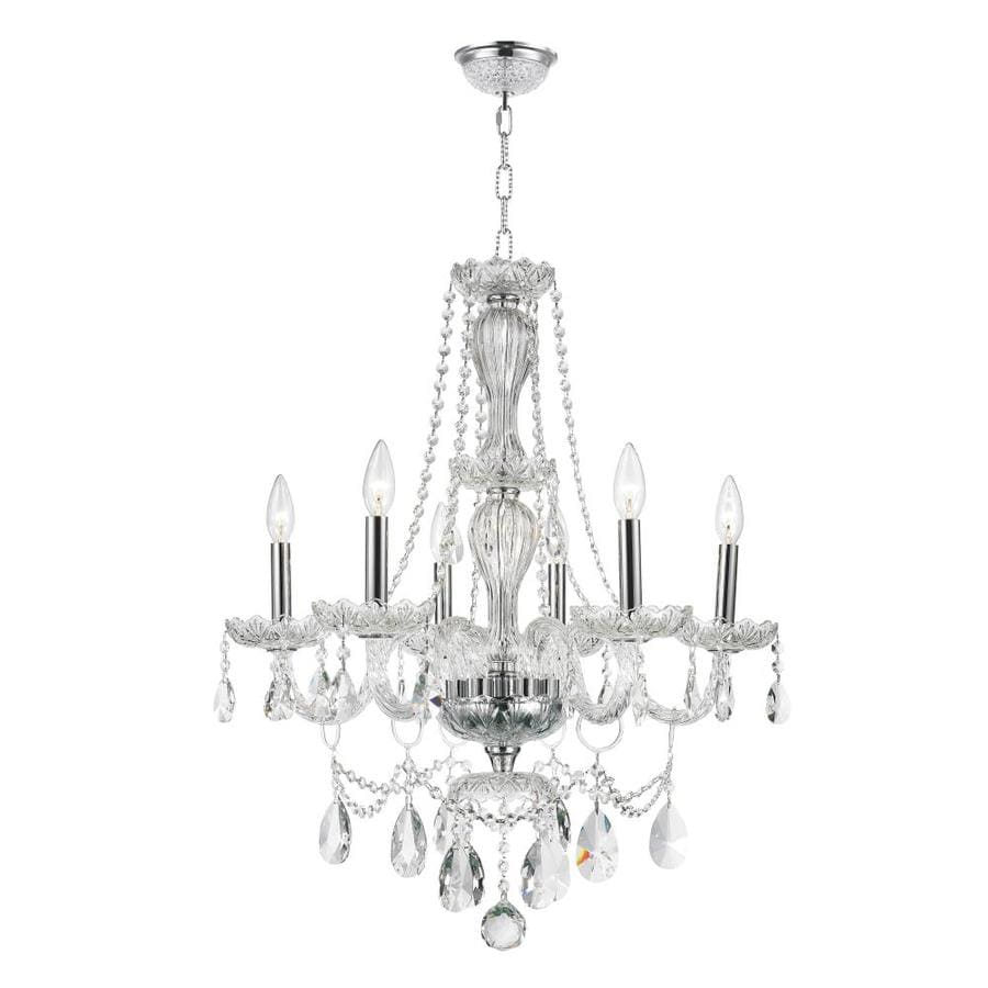 Worldwide Lighting Provence 23-in 6-Light Polished Chrome Crystal Candle Chandelier
