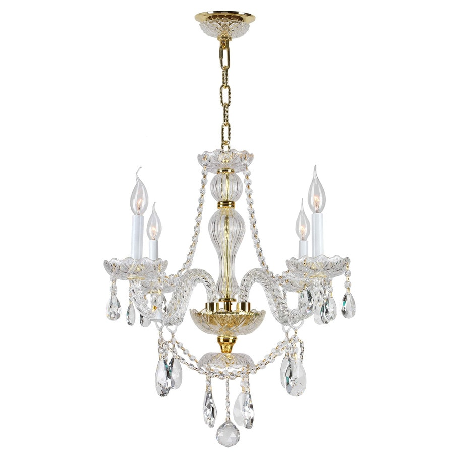 Worldwide Lighting Provence 23-in 4-Light Polished Gold Crystal Crystal Candle Chandelier
