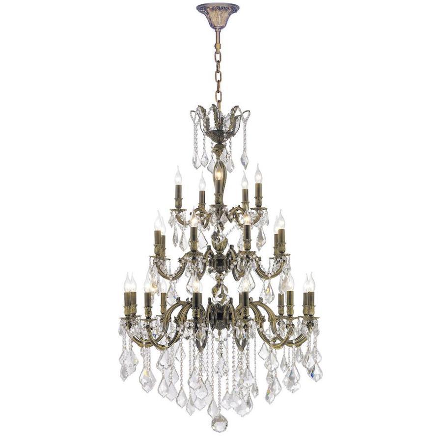 Worldwide Lighting Versailles 36-in 25-Light Antique Bronze Crystal Candle Chandelier