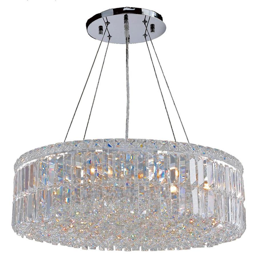 Worldwide Lighting Cascade 24-in 12-Light Polished Chrome Crystal Candle Chandelier