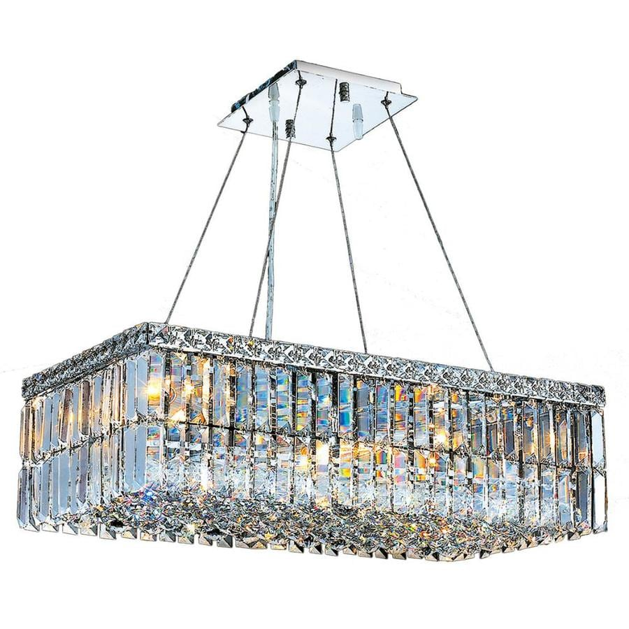 Worldwide Lighting Cascade 24-in 6-Light Polished Chrome Crystal Candle Chandelier