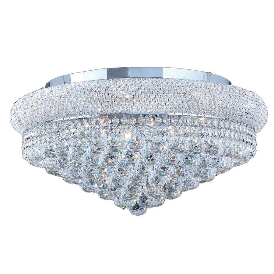 Worldwide Lighting Empire 24-in W Chrome Crystal Flush Mount Light