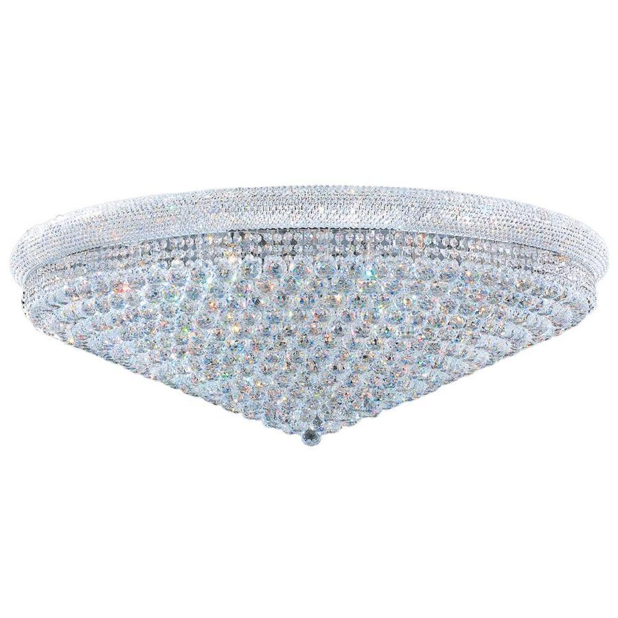 Worldwide Lighting Empire 48-in W Chrome Crystal Flush Mount Light