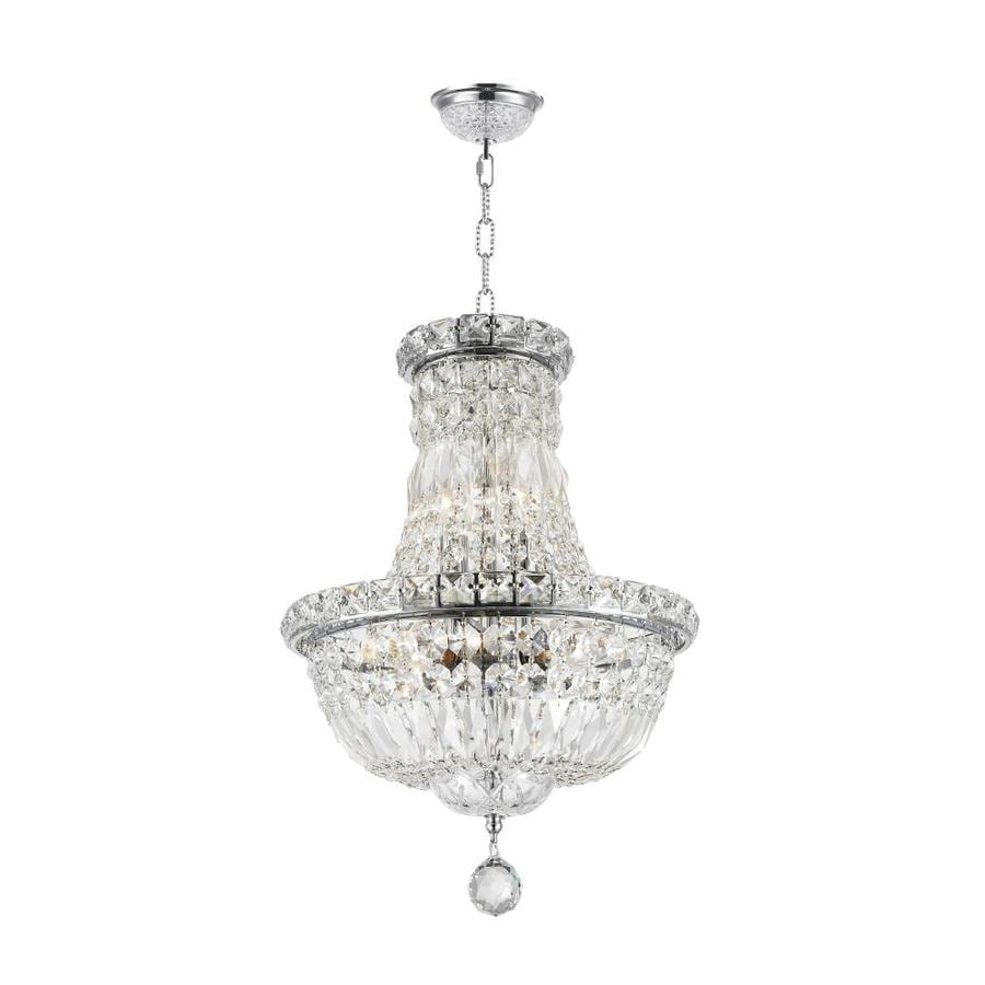 Worldwide Lighting Empire 12-in 6-Light Polished Chrome Crystal Candle Chandelier