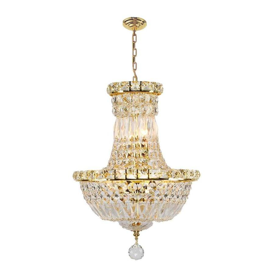 Worldwide Lighting Empire 12-in 6-Light Polished Gold Crystal Crystal Empire Chandelier