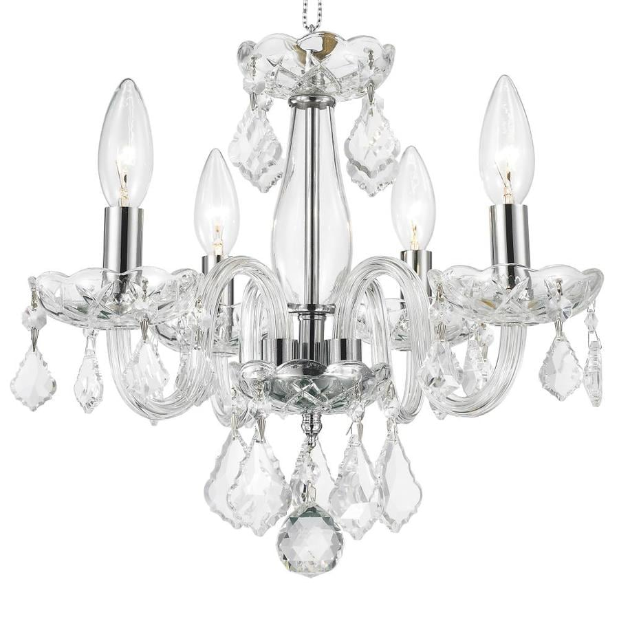 Worldwide Lighting Clarion 16-in 4-Light Polished Chrome Crystal Candle Chandelier