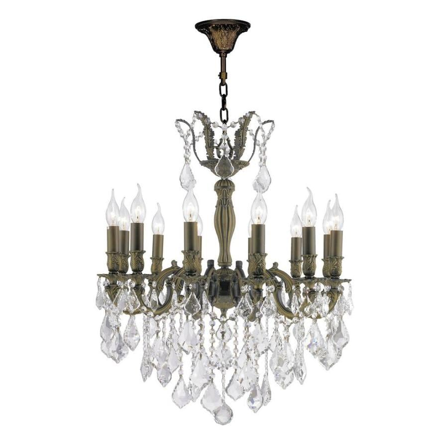 Worldwide Lighting Versailles 27-in 12-Light Antique Bronze Hardwired Crystal Candle   Chandelier