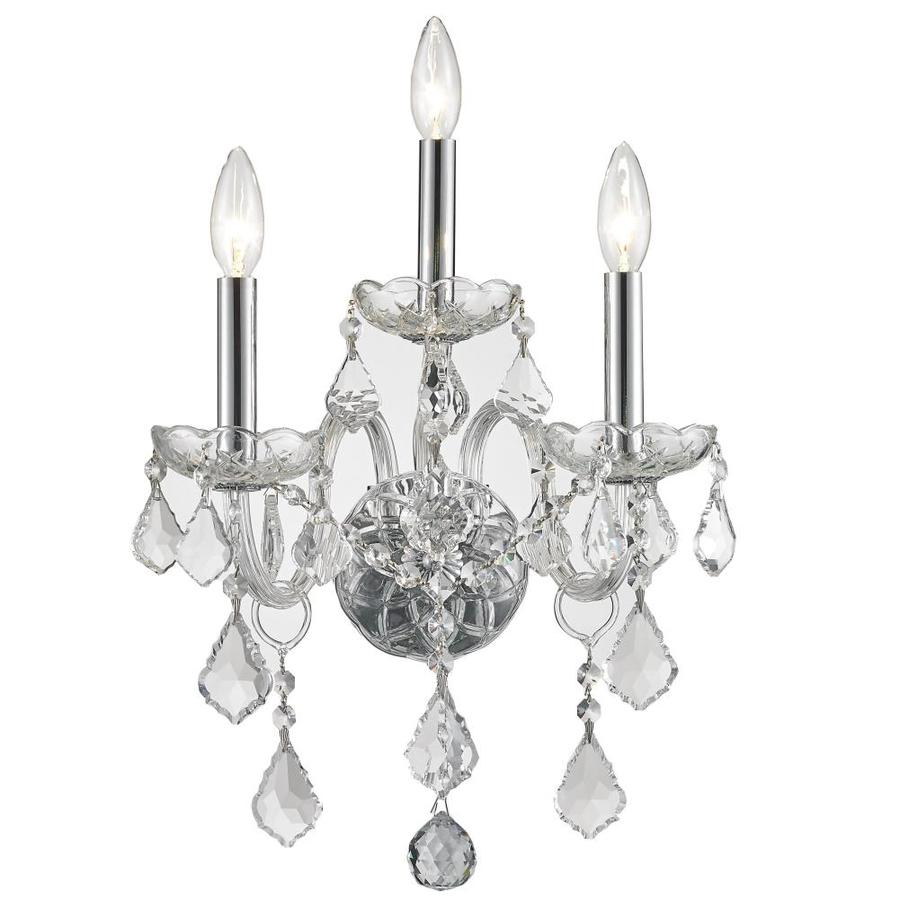 Shop worldwide lighting 13 in w 3 light chrome crystal candle wall worldwide lighting 13 in w 3 light chrome crystal candle wall sconce amipublicfo Gallery