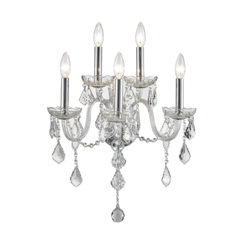 Shop Worldwide Lighting 13-in W 5-Light Chrome Crystal Candle Wall Sconce at Lowes.com
