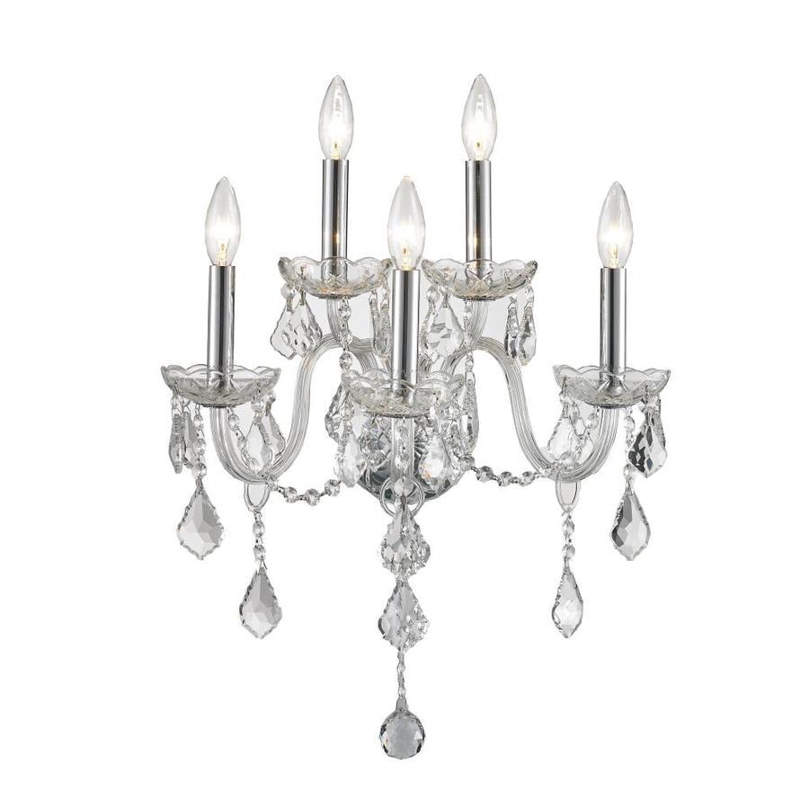 Chrome Candle Wall Lights : Shop Worldwide Lighting 13-in W 5-Light Chrome Crystal Candle Wall Sconce at Lowes.com
