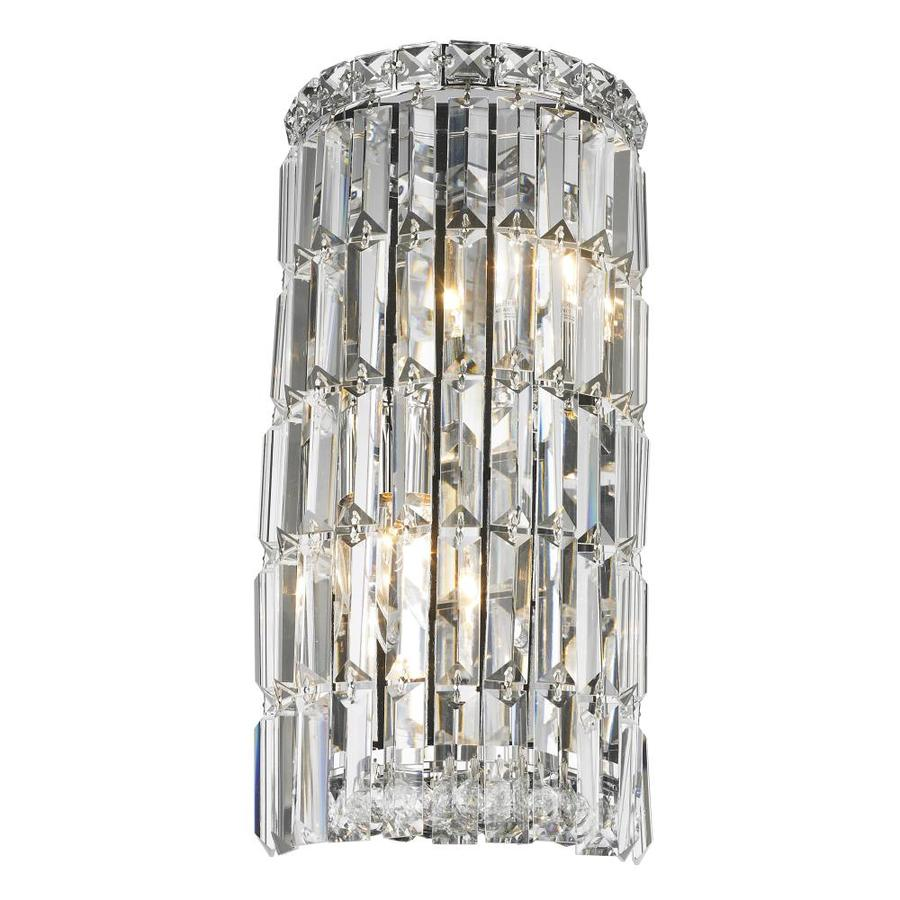 Worldwide Lighting 8-in W 4-Light Chrome Crystal Ambient Wall Sconce