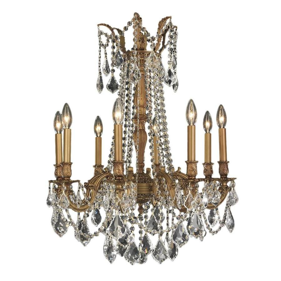 Worldwide Lighting Windsor 24-in 8-Light French Gold Crystal Candle Chandelier