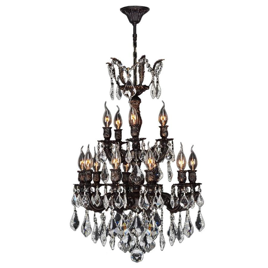 Worldwide Lighting Versailles 21-in 15-Light Flemish Brass Crystal Candle Chandelier