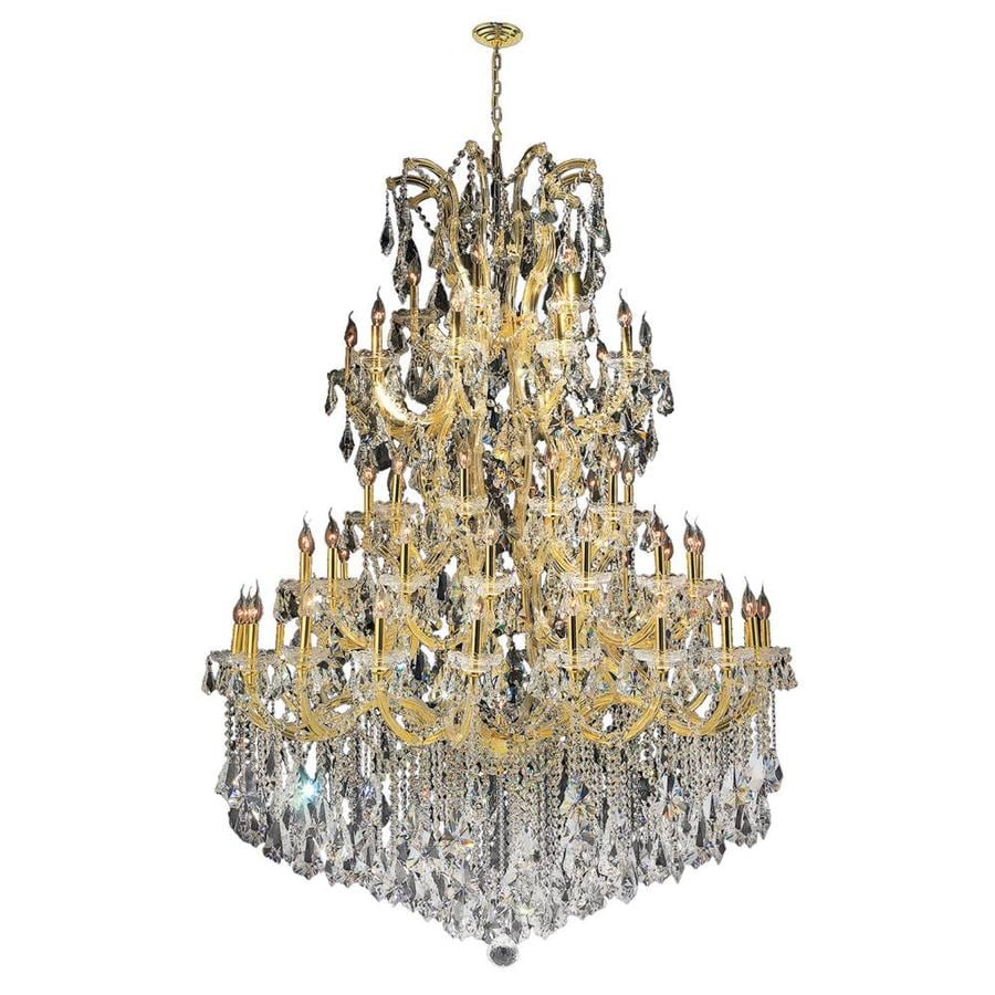 Worldwide Lighting Maria Theresa 54-in 61-Light Polished Gold Crystal Candle Chandelier