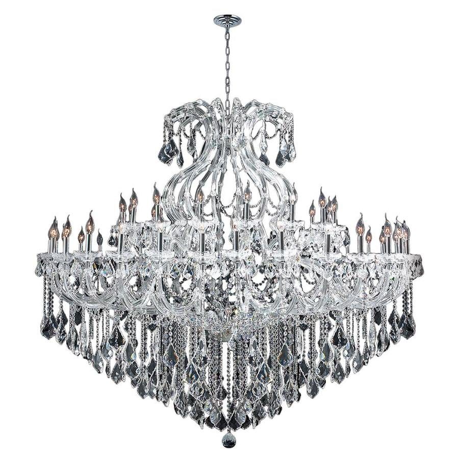 Worldwide Lighting Maria Theresa 72-in 49-Light Polished Chrome Crystal Candle Chandelier