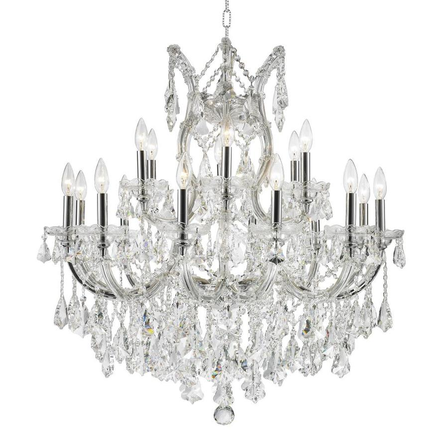 Worldwide Lighting Maria Theresa 30-in 19-Light Polished Chrome Crystal Candle Chandelier