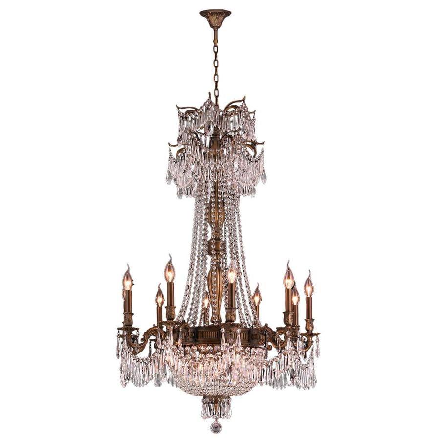 Worldwide Lighting W-inter 36-in 18-Light Antique Bronze Crystal Candle Chandelier