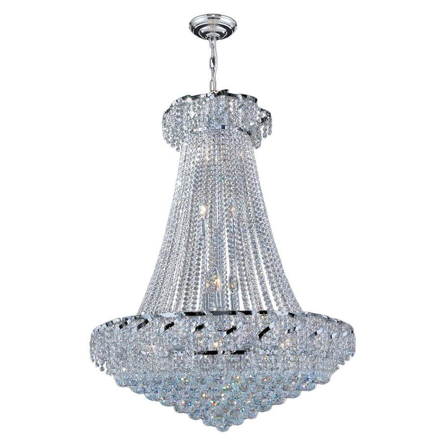 Worldwide Lighting Empire 30-in 18-Light Polished Chrome Crystal Crystal Empire Chandelier