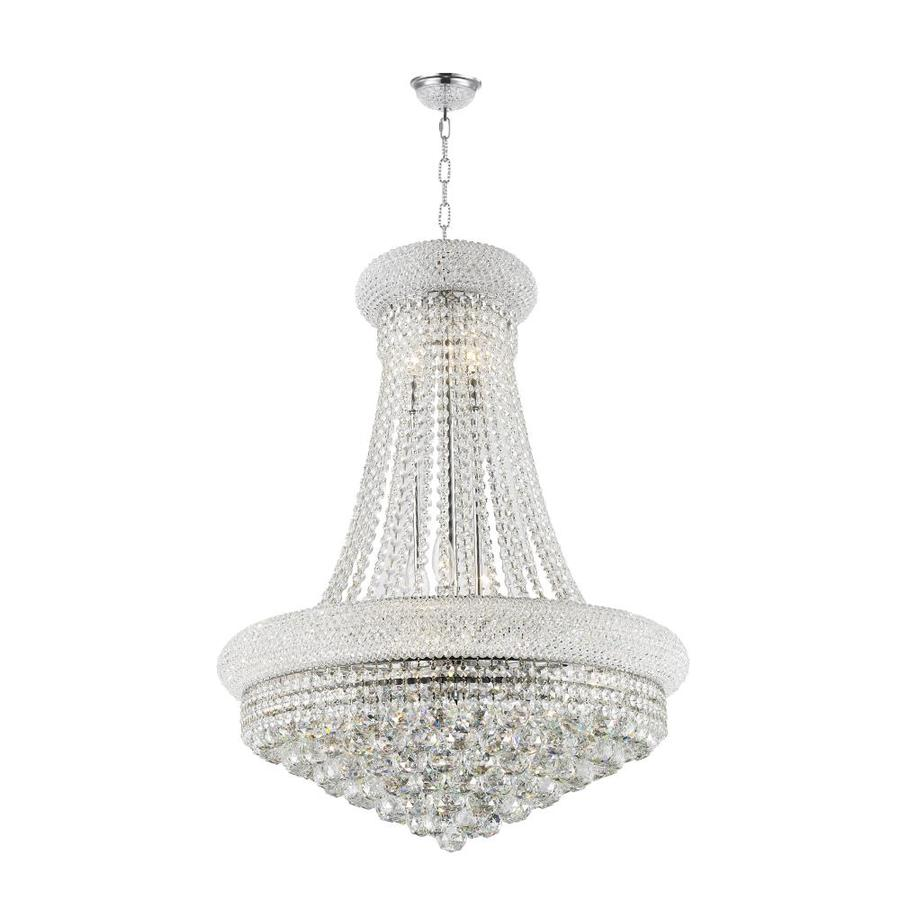 Worldwide Lighting Empire 24-in 14-Light Polished Chrome Crystal Crystal Empire Chandelier