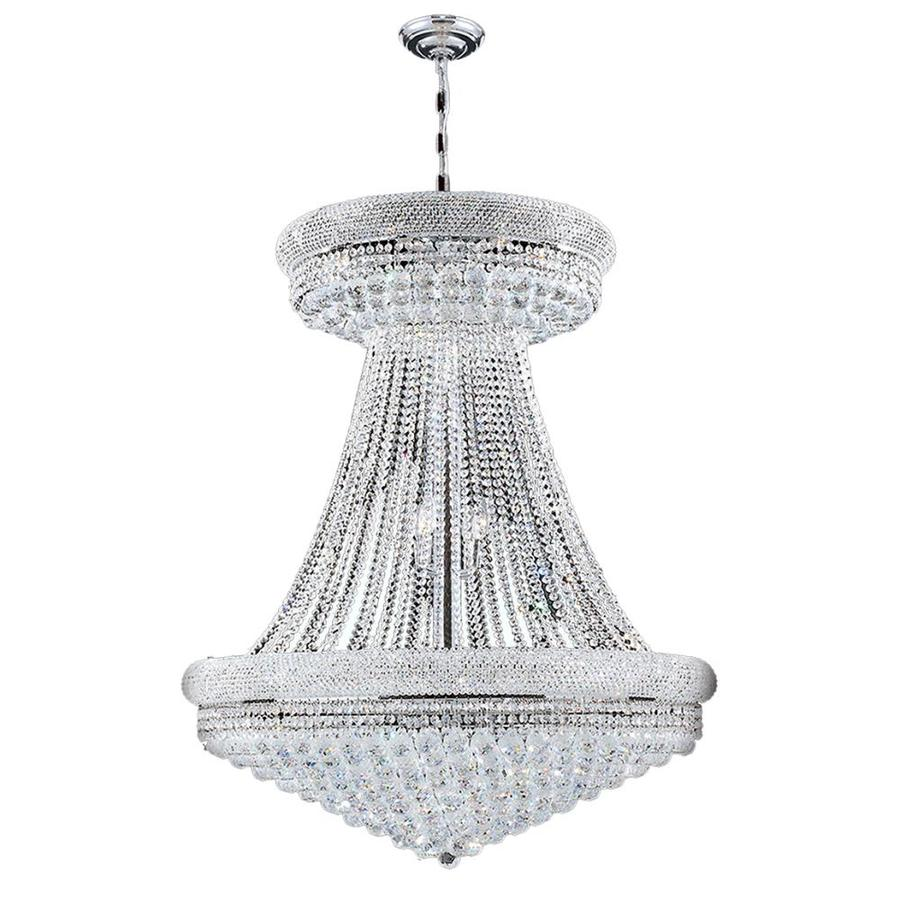 Worldwide Lighting Empire 36-in 32-Light Polished Chrome Crystal Crystal Empire Chandelier