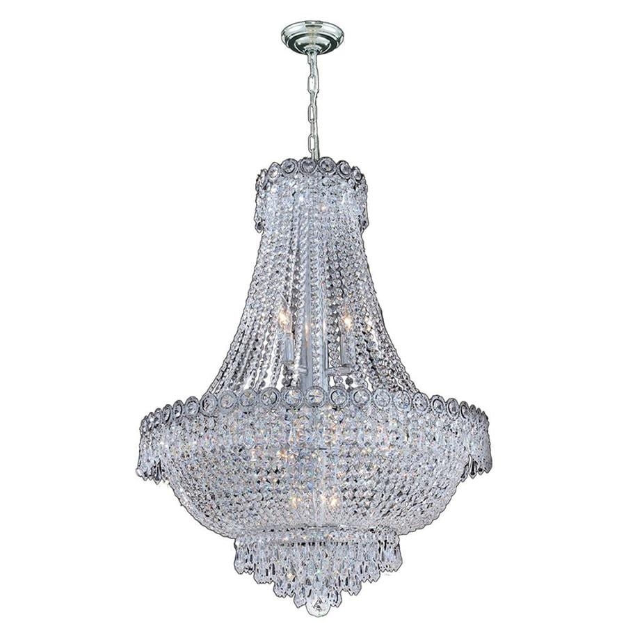 Worldwide Lighting Empire 24-in 12-Light Polished Chrome Crystal Crystal Empire Chandelier