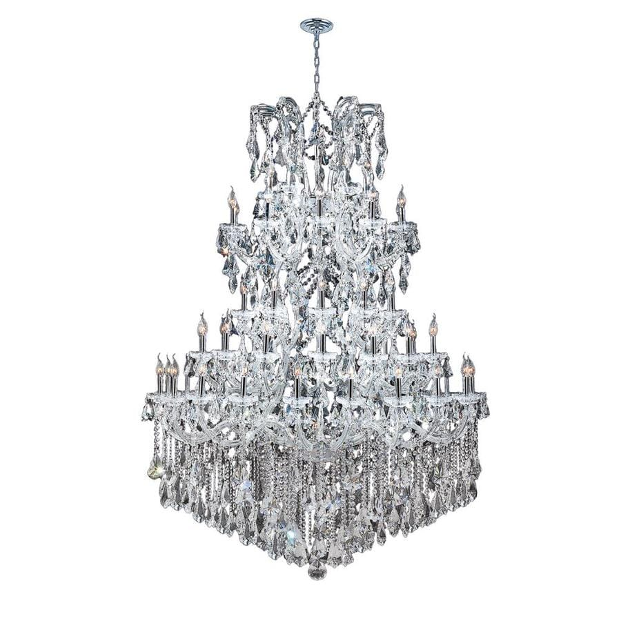 Worldwide Lighting Maria Theresa 54-in 61-Light Polished Chrome Crystal Candle Chandelier