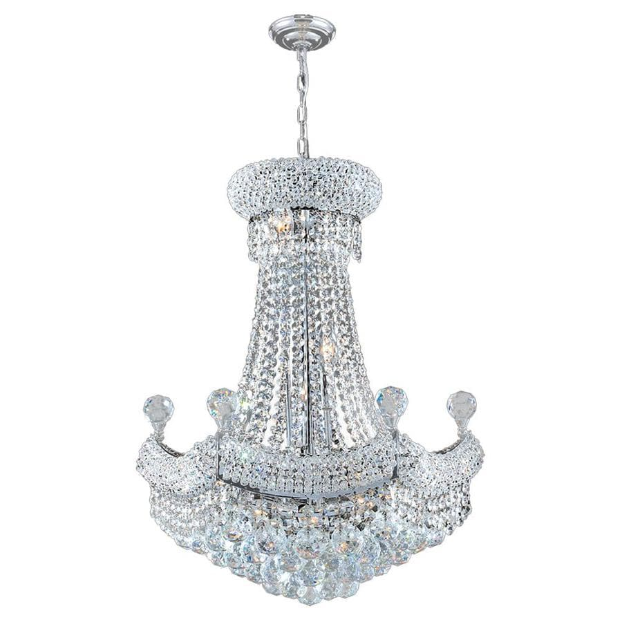 Worldwide Lighting Empire 20-in 12-Light Polished Chrome Crystal Crystal Empire Chandelier