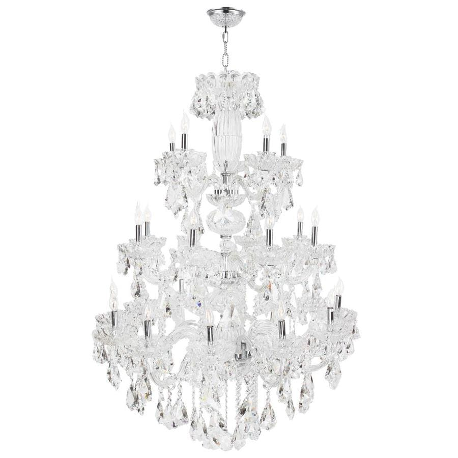 Worldwide Lighting Olde World 42-in 23-Light Polished Chrome Crystal Candle Chandelier