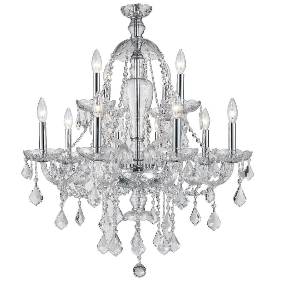 Worldwide Lighting Provence 28-in 12-Light Polished Chrome Crystal Candle Chandelier