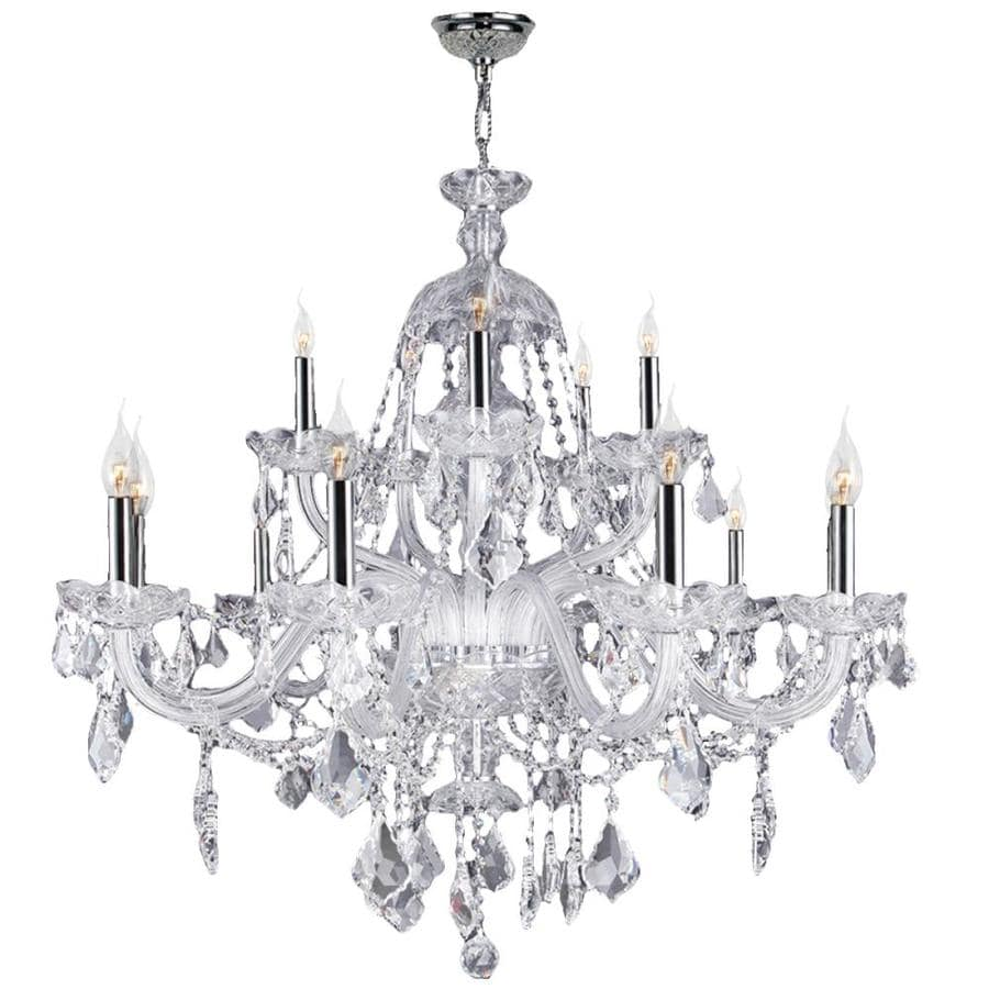 Worldwide Lighting Provence 35-in 15-Light Polished Chrome Crystal Candle Chandelier