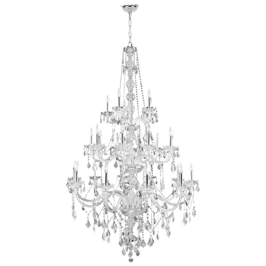 Worldwide Lighting Provence 43-in 25-Light Polished Chrome Crystal Candle Chandelier