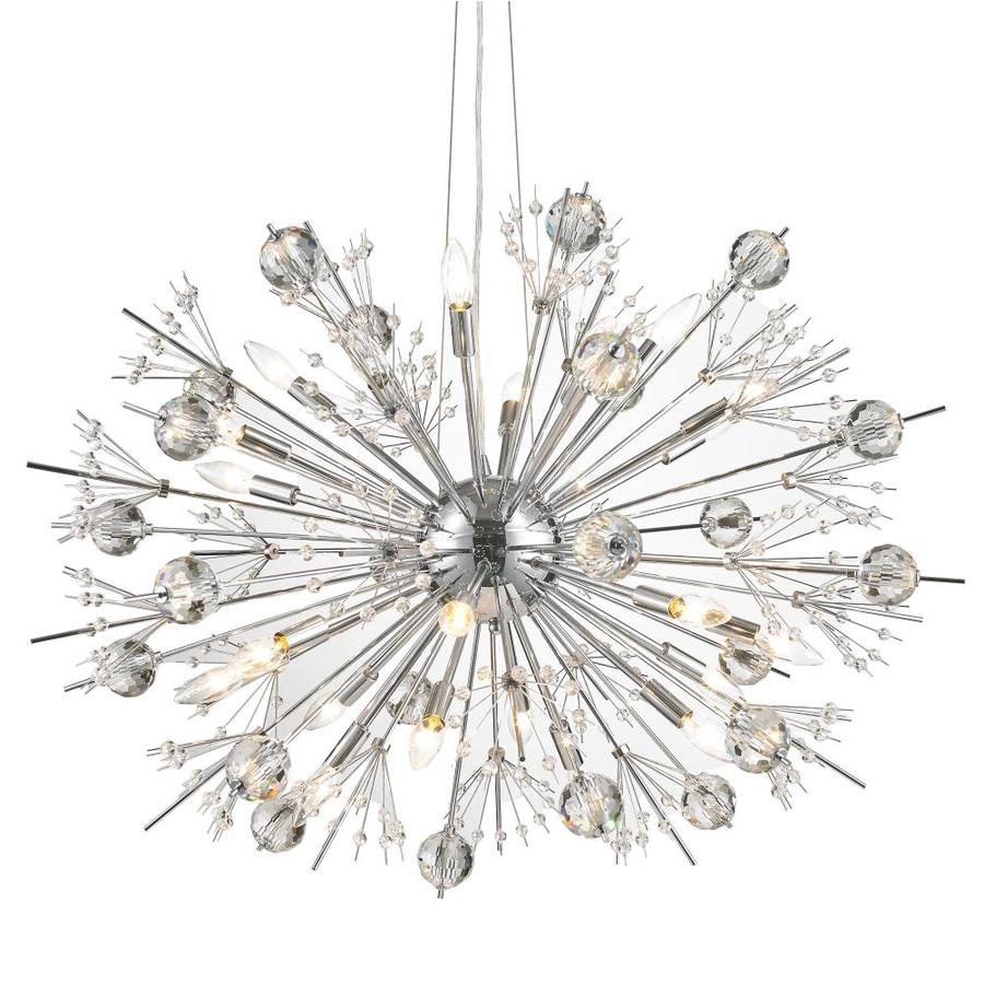 Worldwide Lighting Starburst 36-in 24-Light Polished Chrome Crystal Candle Chandelier