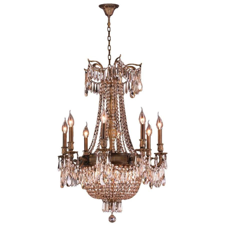 Worldwide Lighting W-inter 24-in 12-Light Antique Bronze Crystal Candle Chandelier