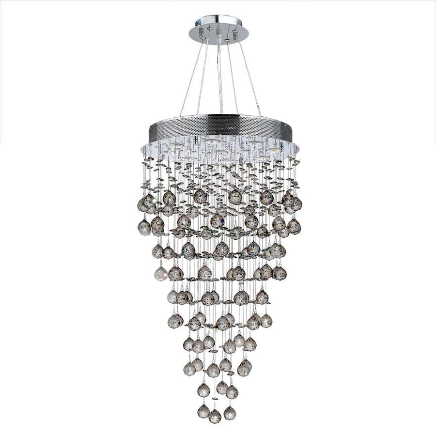 Worldwide Lighting Icicle 20-in 9-Light Polished Chrome Crystal Candle Chandelier