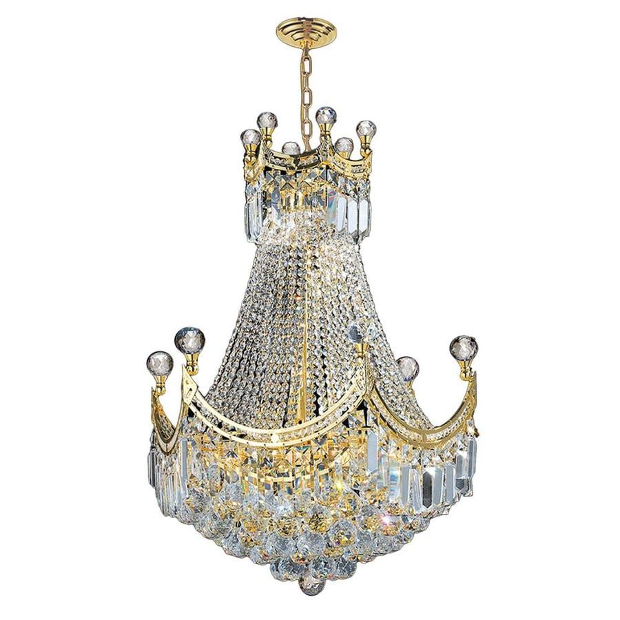 Worldwide Lighting Empire 20-in 9-Light Polished Gold Crystal Crystal Empire Chandelier