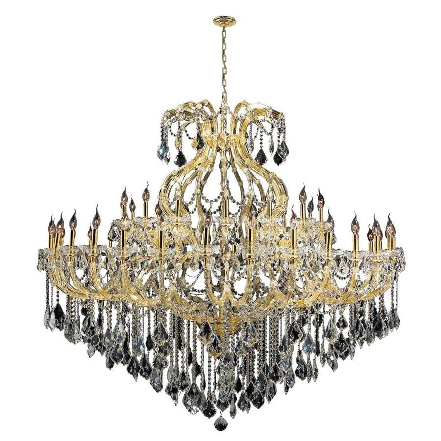 Worldwide Lighting Maria Theresa 72-in 49-Light Polished Gold Crystal Candle Chandelier