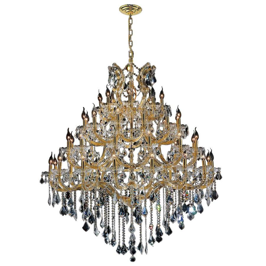 Worldwide Lighting Maria Theresa 46-in 49-Light Polished Gold Crystal Candle Chandelier