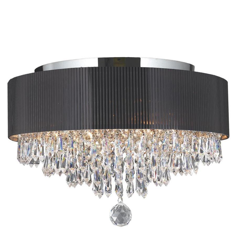 Worldwide Lighting Gatsby 16-in W Chrome Crystal Flush Mount Light