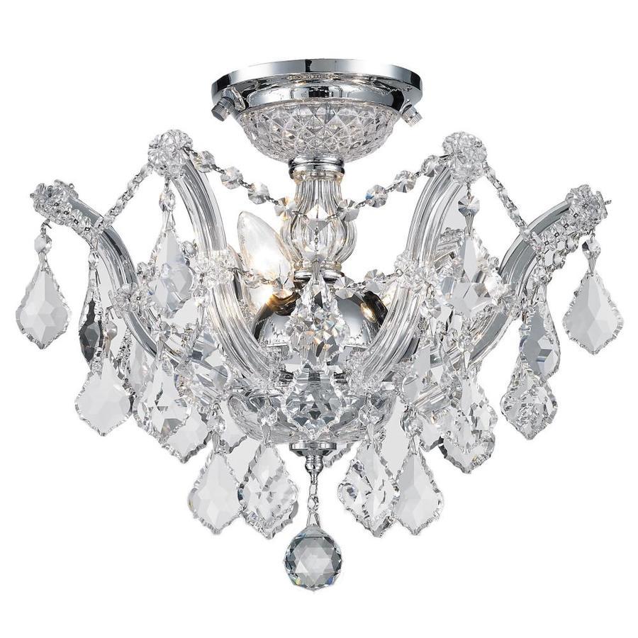 Worldwide Lighting Bayou 16-in W Chrome Crystal Semi-Flush Mount Light
